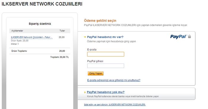 Paypal ödeme